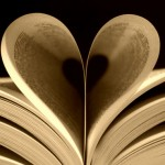 """Heart-shaped image formed by book pages"""